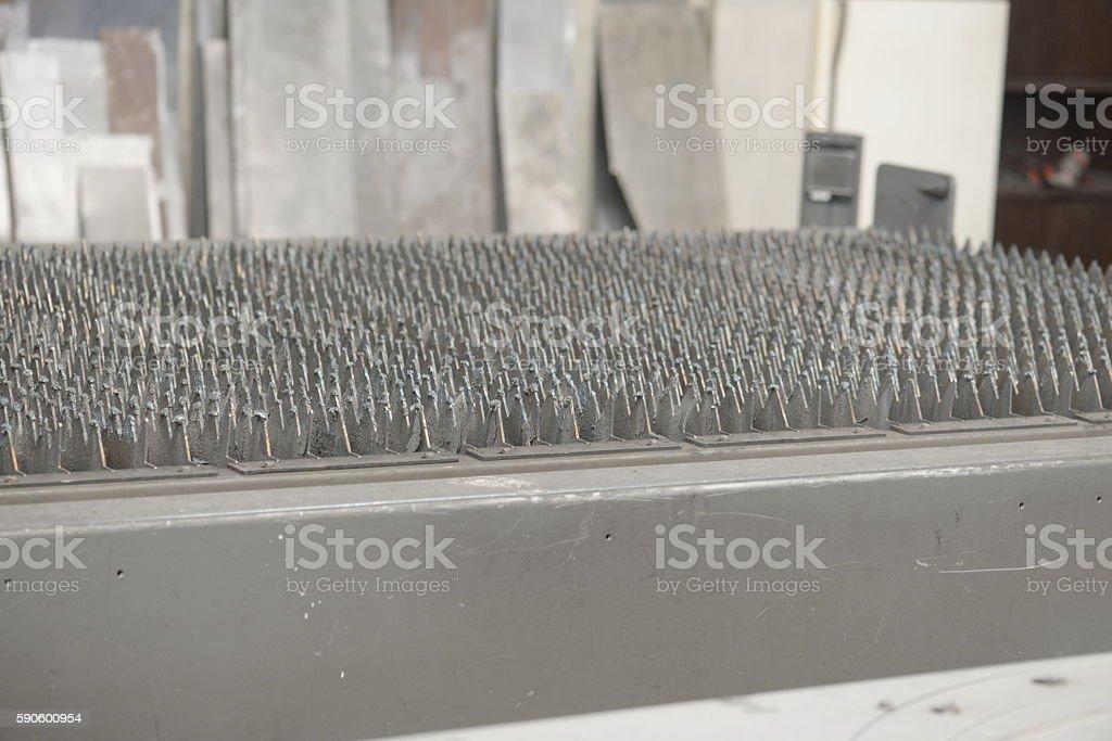 bending,Worker at manufacture, cidan folding machine,sheet metal work stock photo
