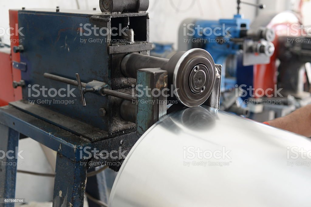 bending,Worker at manufacture workshop operating cidan stock photo