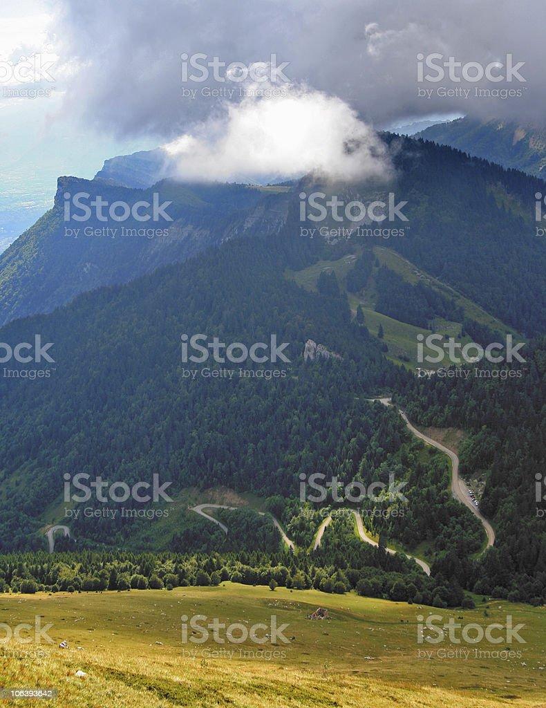 bendy mountain road stock photo
