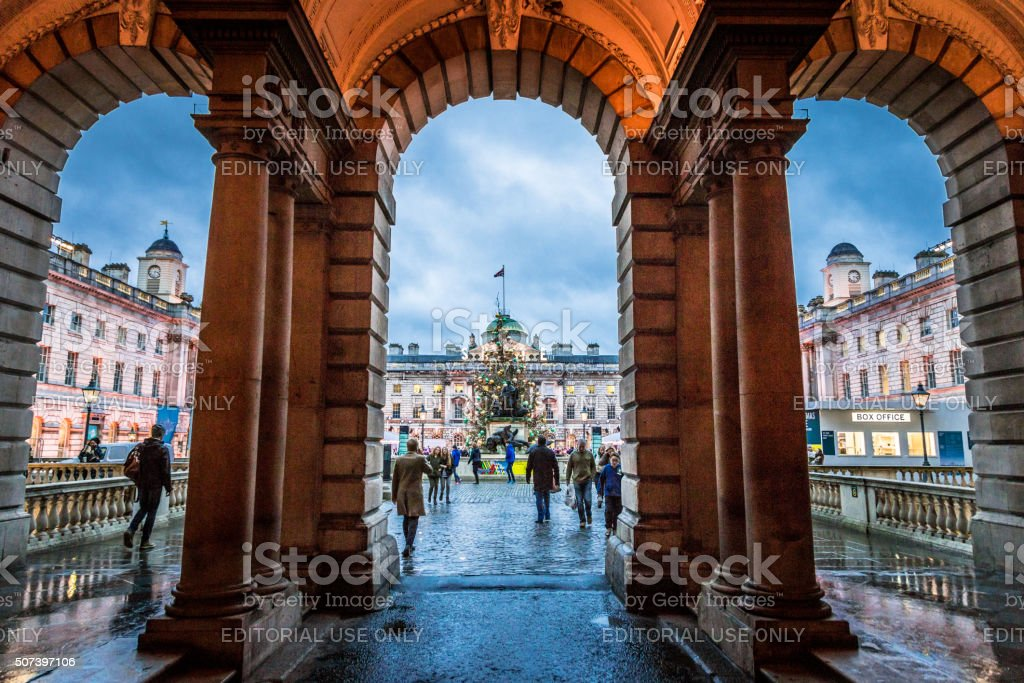 Beneath the Arches at Somerset House, The Strand, London, UK stock photo