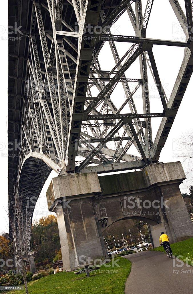 Beneath the Aurora Bridge in Seattle, WA stock photo