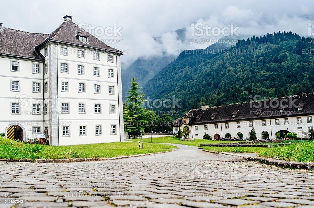 Benedictine Abbey at Engelberg, Switzerland. stock photo