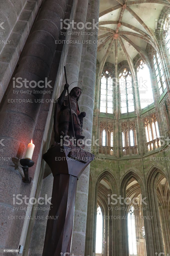Benedictine Abbey of Mont Saint-Michel in Normandy, Archangel Michael stock photo