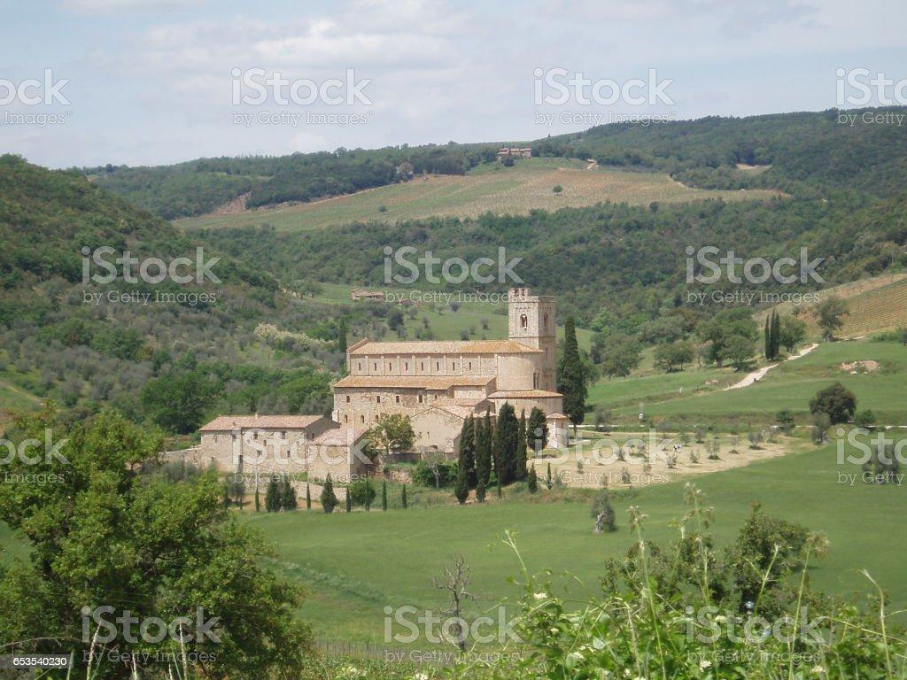 Benedictine monastery, Sant'Antimo, Tuscany stock photo