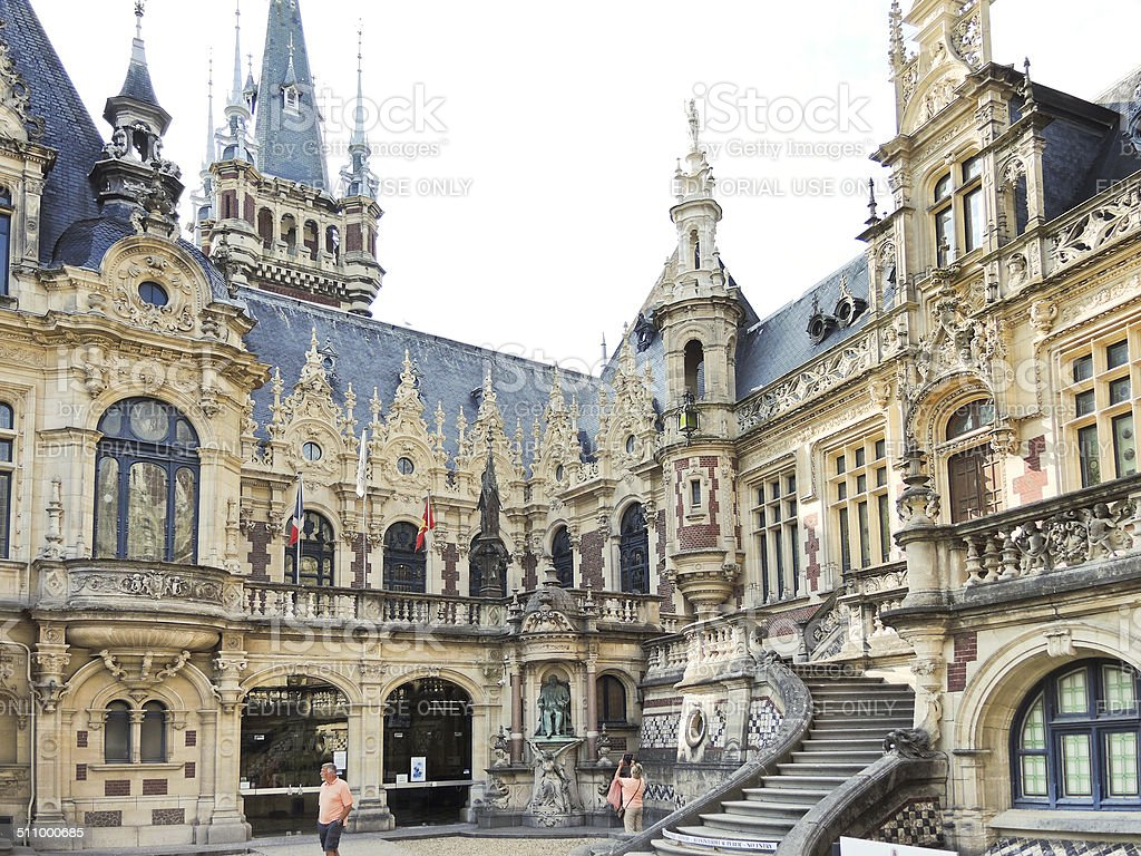 Benedictine Palace in Fecamp town, France stock photo