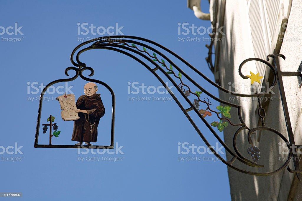 Benedictine sign in Hautvillers stock photo