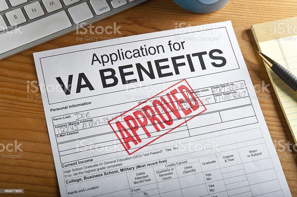 VA Benefit Form stock photo