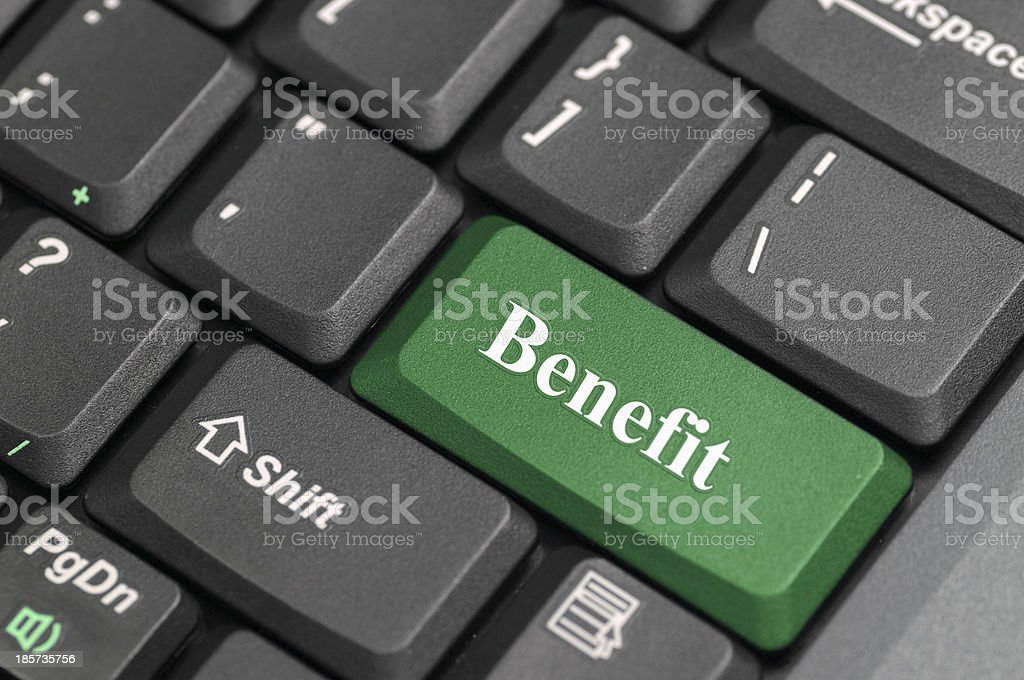 Benefit on keyboard royalty-free stock photo