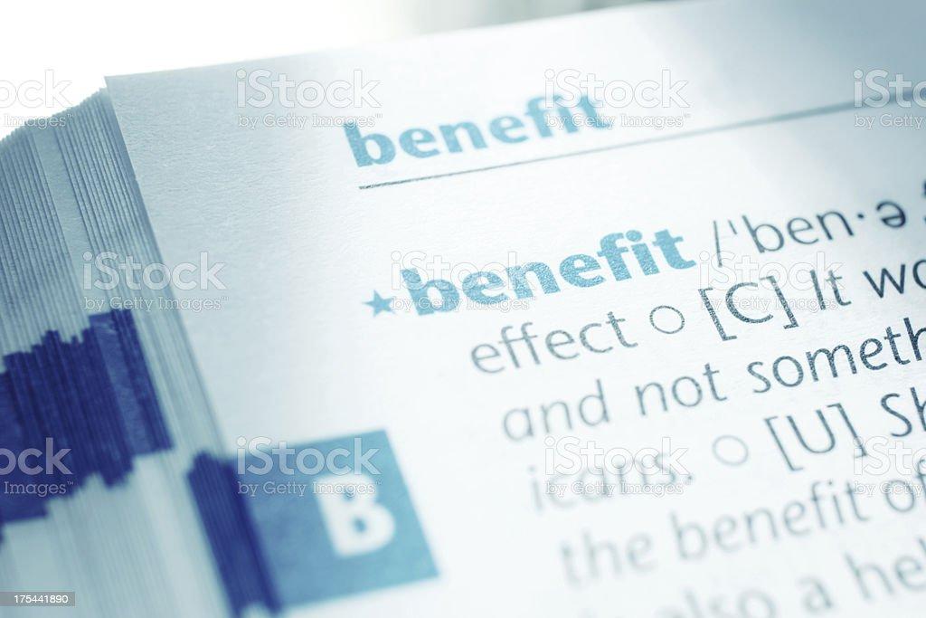 Benefit stock photo