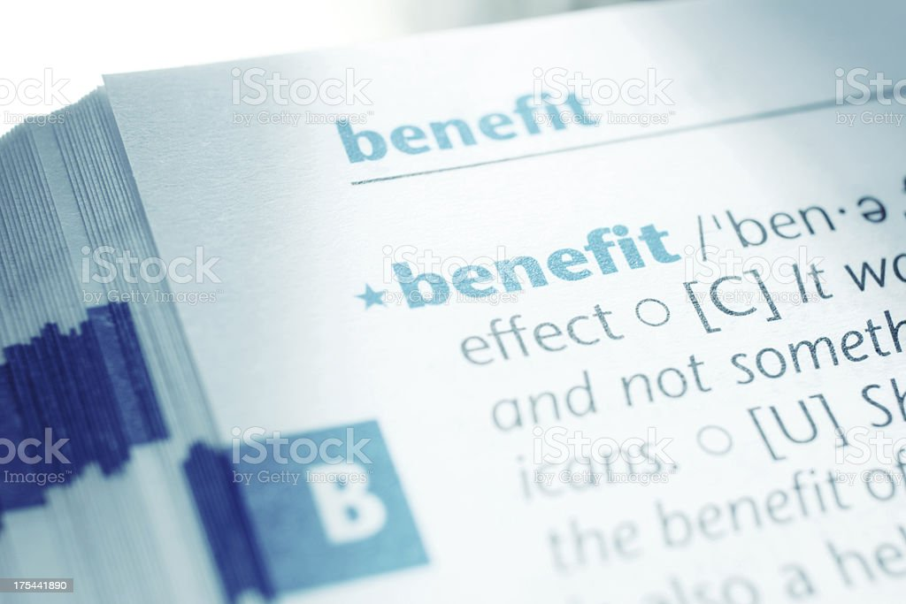 Benefit stock photo