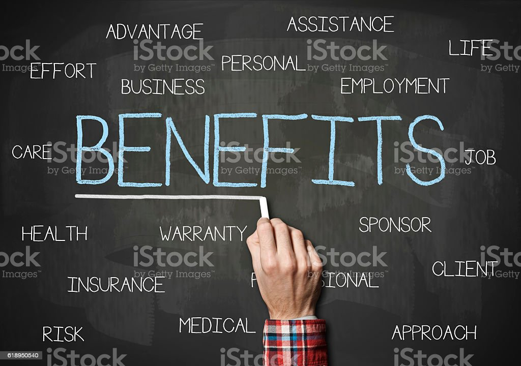 Benefits / Blackboard cocnept (Click for more) stock photo