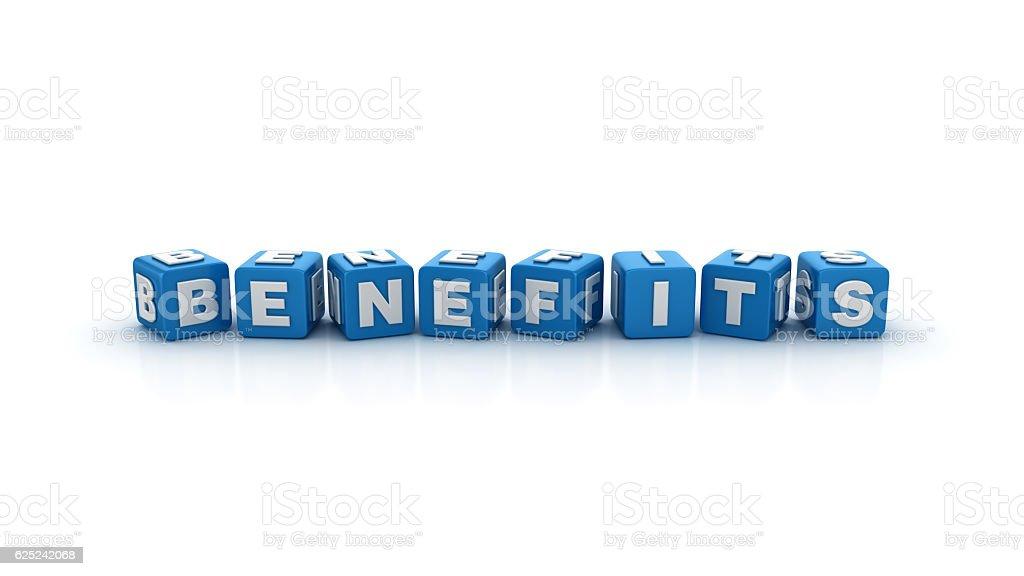 Benefits Buzzword Cubes - 3D Rendering stock photo