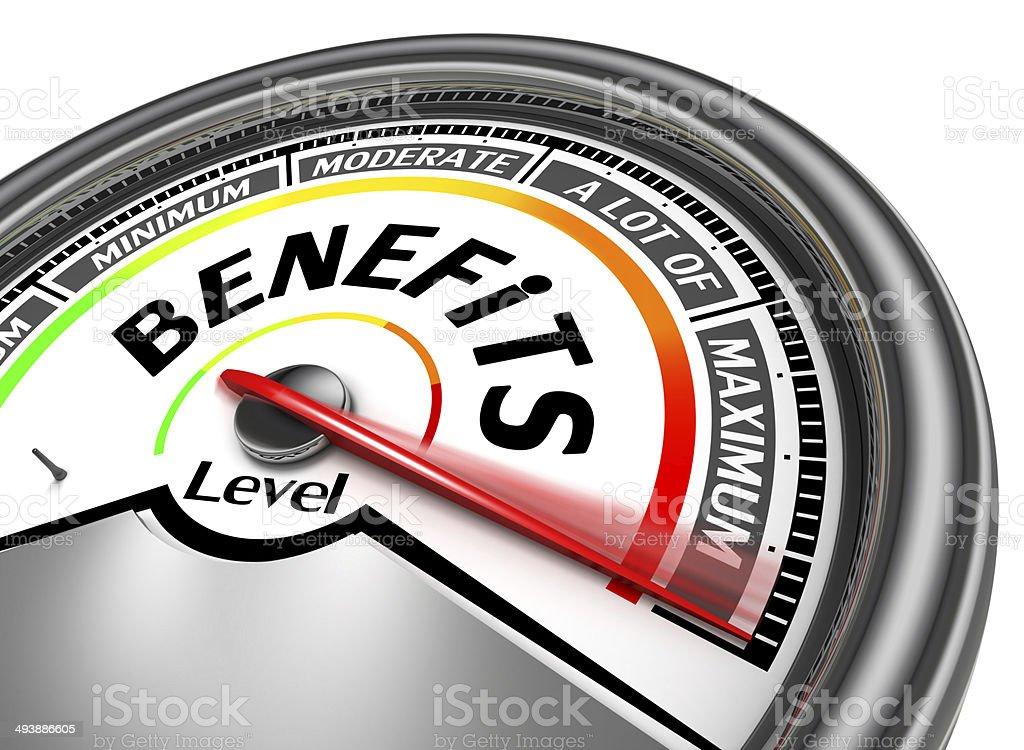 benefits conceptual meter stock photo