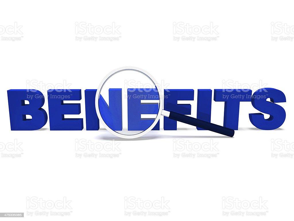 Benefits Word Means Perks Bonuses Or Reward stock photo