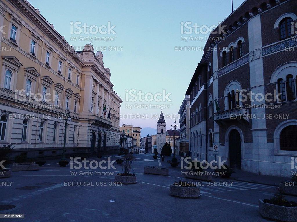 Benevento - Corso Garibaldi all'alba stock photo