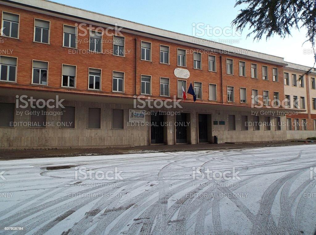 Benevento - Istituto Tecnico Industriale con la neve stock photo