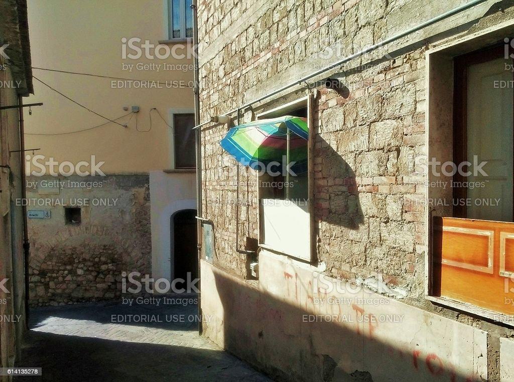 Benevento - Ombrellone tra i vicoli stock photo