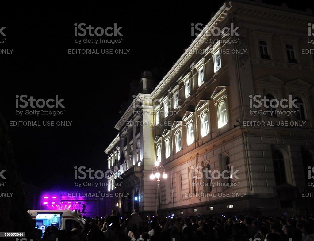 Benevento - Palazzo del Governo di sera stock photo