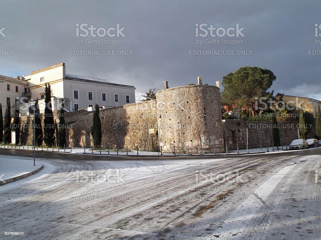 Benevento - Scorcio invernale delle mura longobarde stock photo