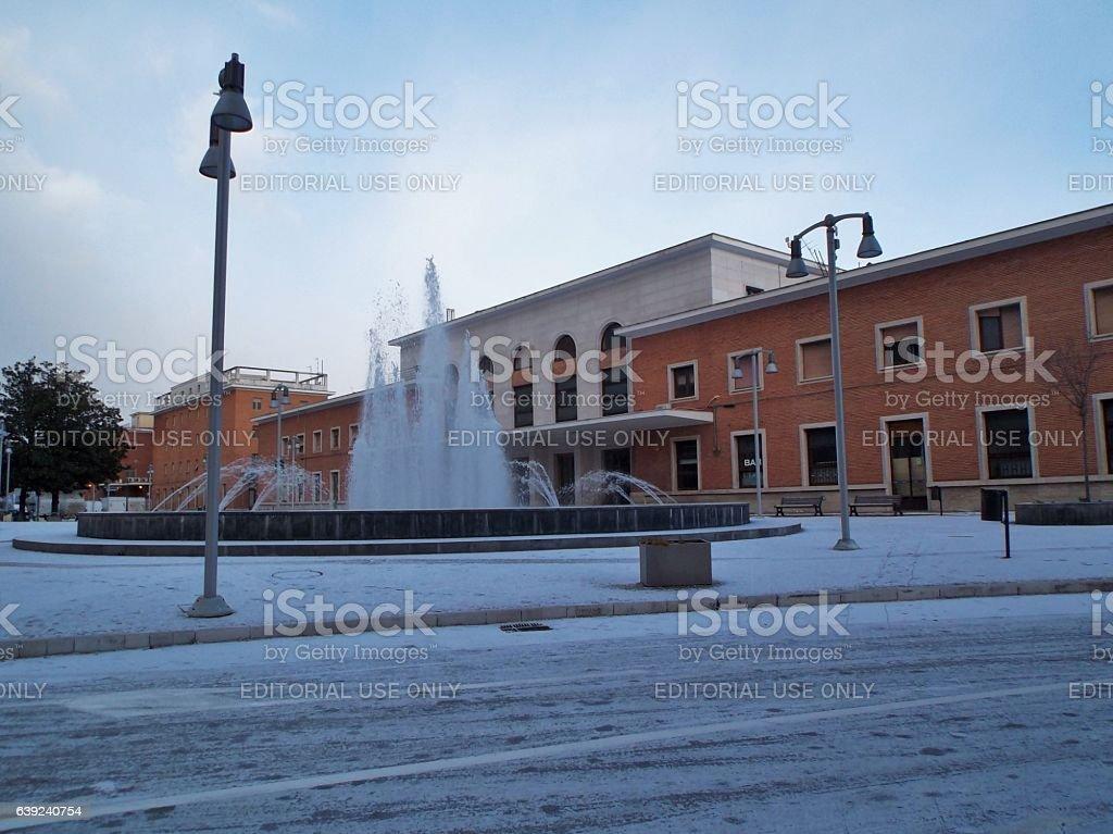 Benevento - Stazione Centrale con la neve stock photo