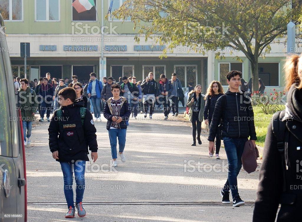 Benevento - Uscita da scuola stock photo