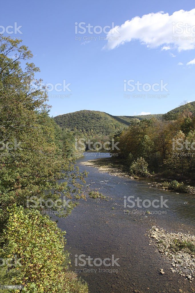 Benezette PA scenic view of mountains & river stock photo