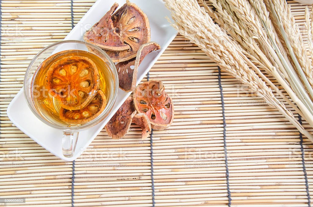 Bengal Quince Bael fruit hot drink stock photo