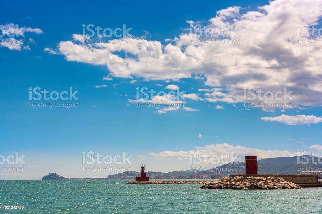 Benicarlo port and Peniscola (Castellon, Spain). stock photo