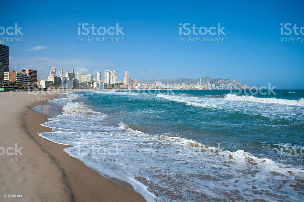 Benidorm Alicante beach buildings and Mediterranean stock photo