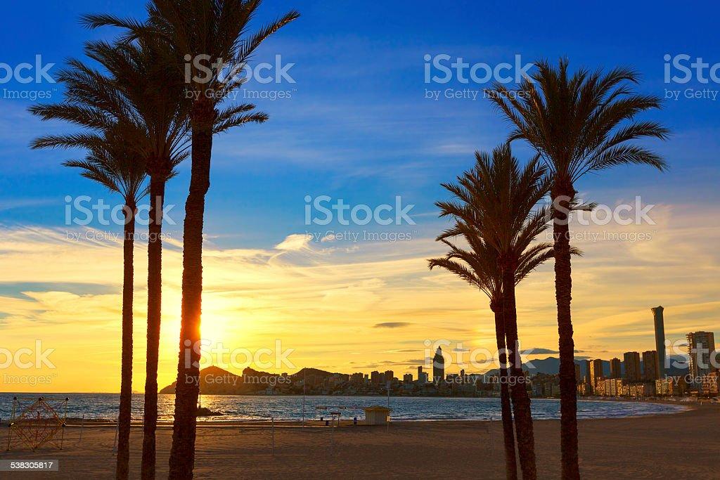 Benidorm Alicante playa de Poniente beach sunset in Spain stock photo