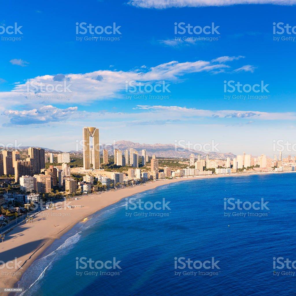 Benidorm alicante skyline aerial view of Poniente beach stock photo