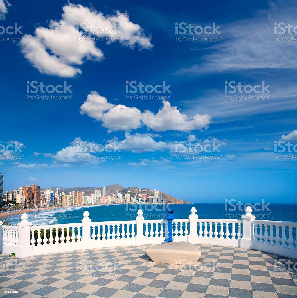 Benidorm balcon del Mediterraneo sea from white balustrade stock photo
