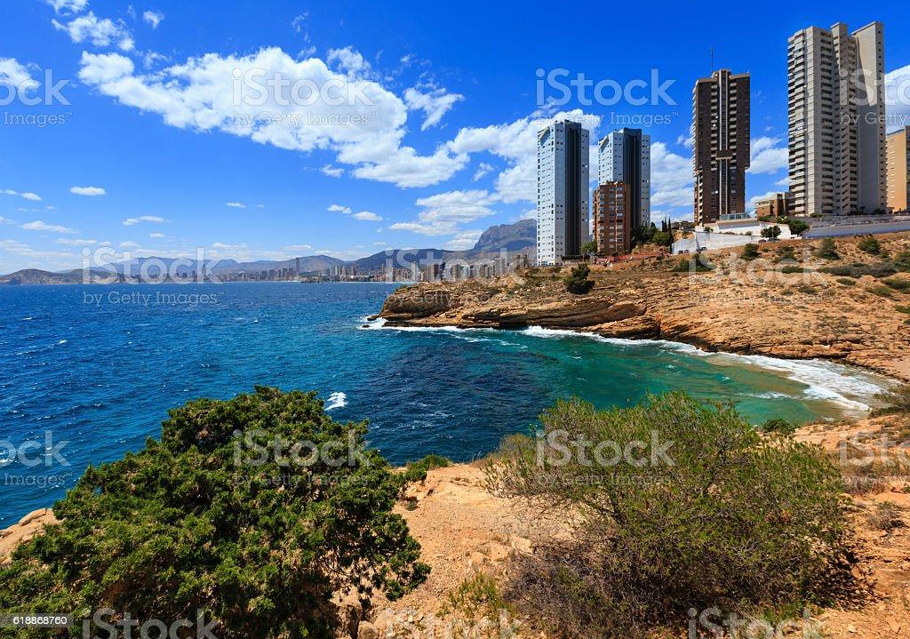 Benidorm city coast view (Spain). stock photo