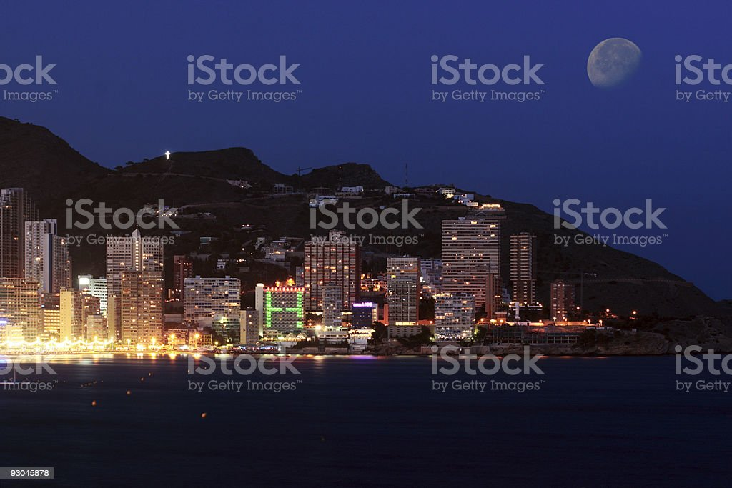 Benidorm in the night royalty-free stock photo