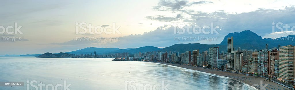 Benidorm panorama at sunset royalty-free stock photo