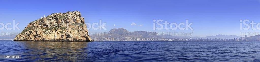 Benidorm panoramic view from island stock photo
