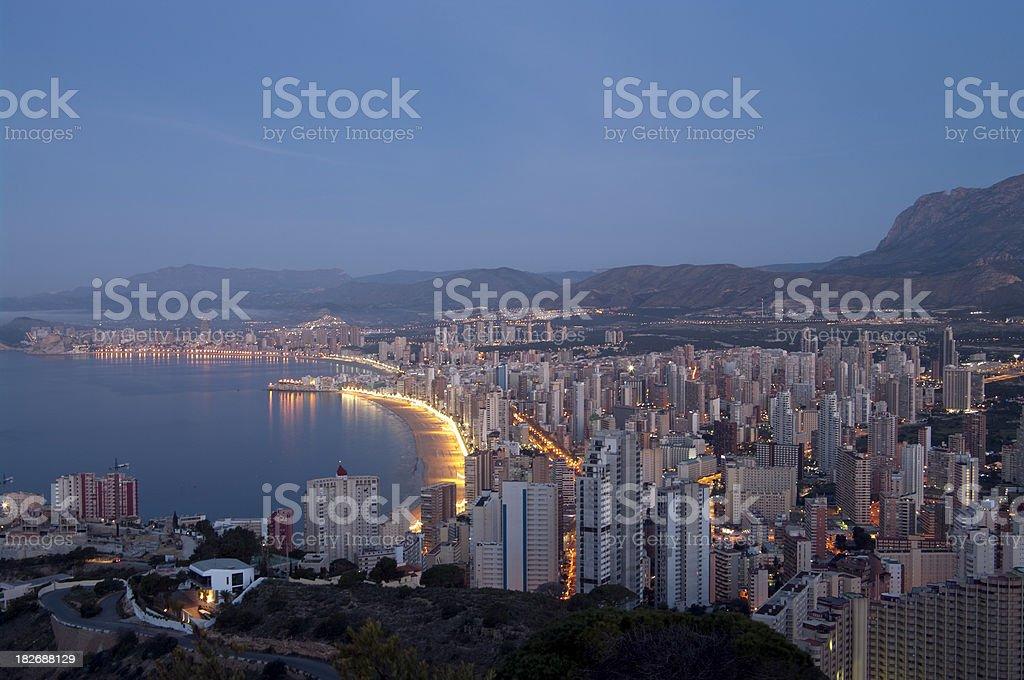 Benidorm skyline in early morning night time stock photo