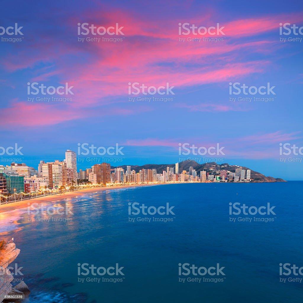 Benidorm sunset Alicante playa de Levante beach sunset in spain stock photo