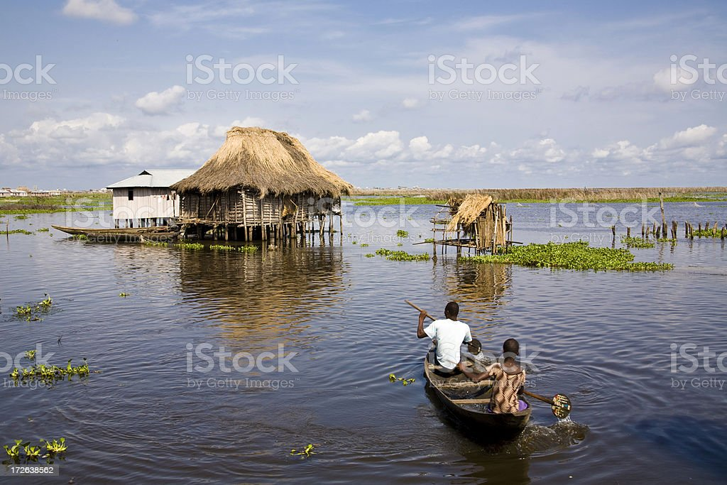 Benin: Ganvie, Largest Stilted Village in Africa stock photo