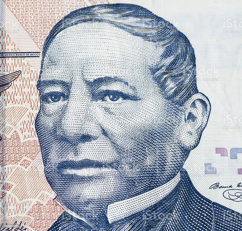 Benito Juarez on Mexican Currency stock photo