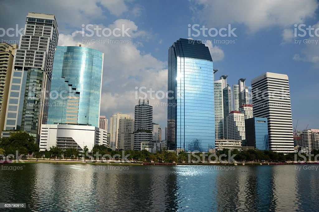 Benjakitti Park and Lake Ratchada, Bangkok, Thailand stock photo