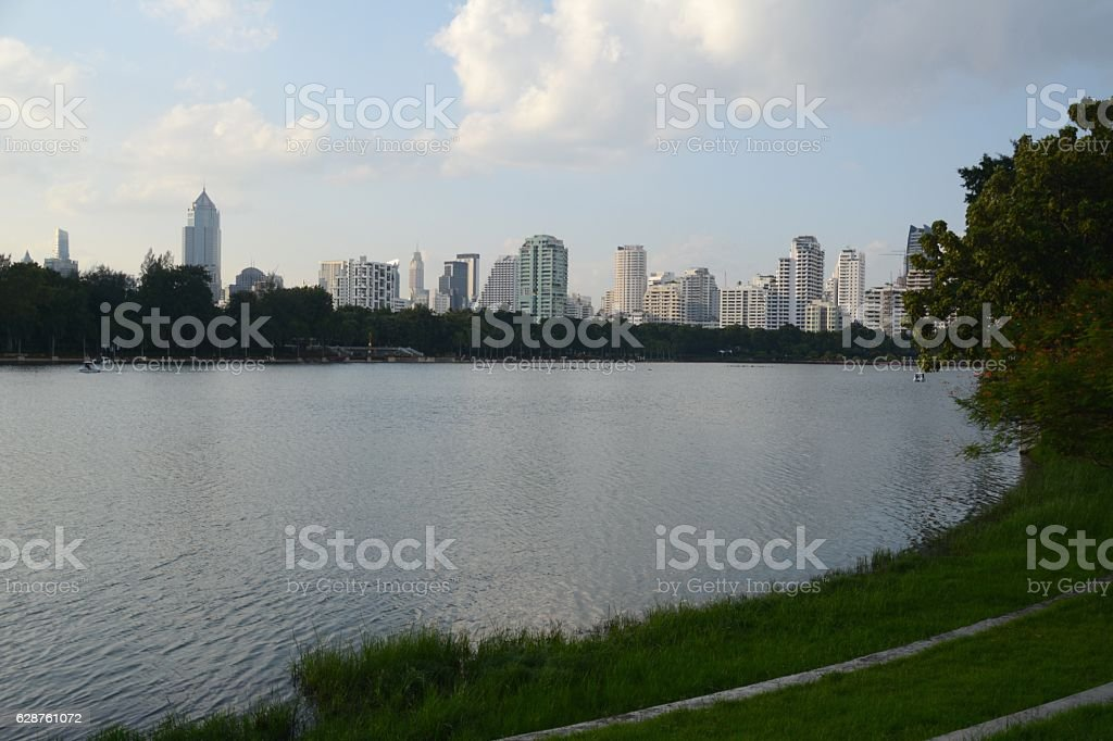 Benjakitti Park and Lake Ratchada, Sukhumvit, Bangkok, Thailand stock photo