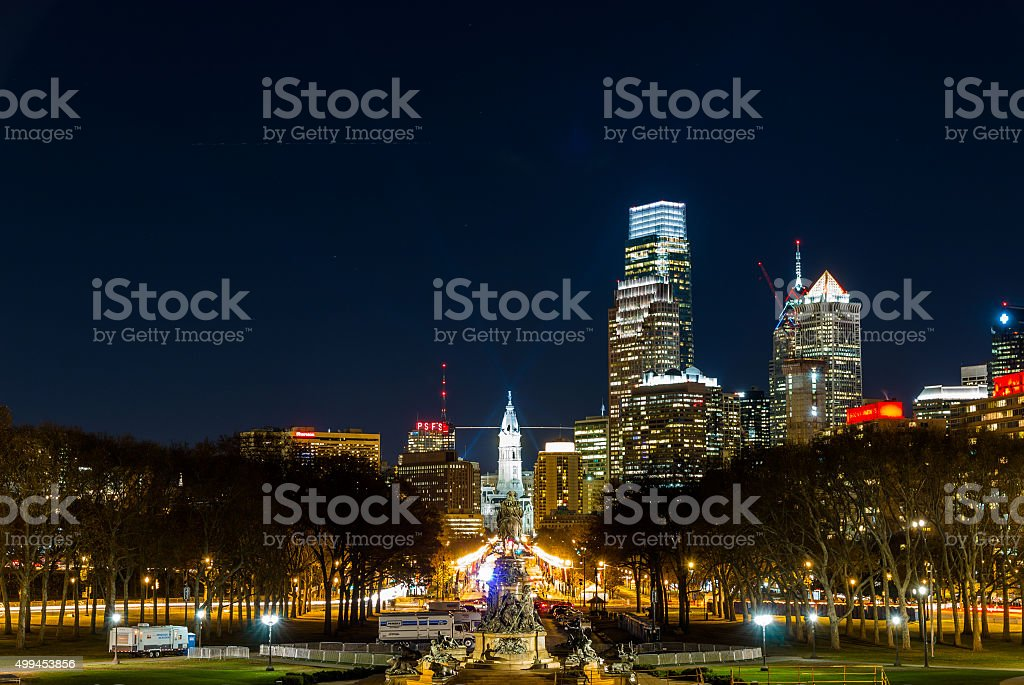 Benjamin Frankiln Parkway views from Philadelphia Museum of Art stock photo
