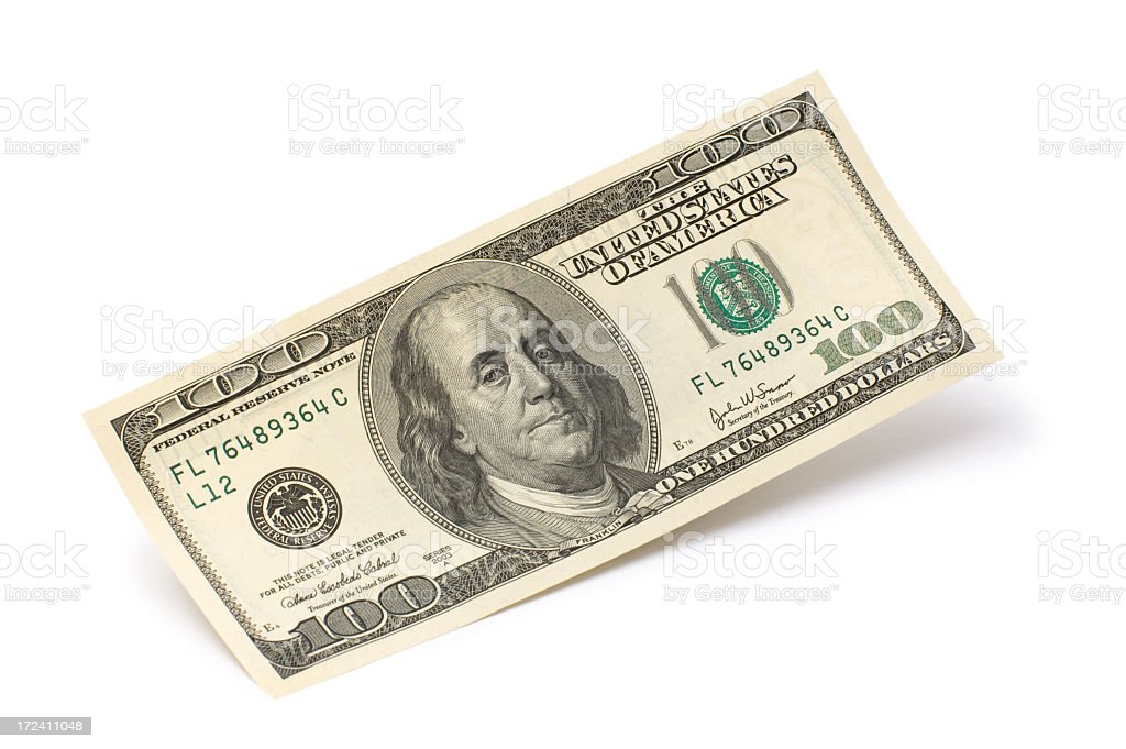 Benjamin Franklin 100 dollar bill on a white background royalty-free stock photo