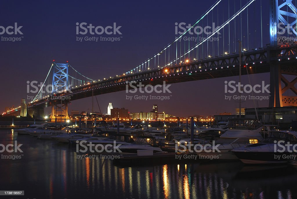 Benjamin Franklin Bridge at Night royalty-free stock photo