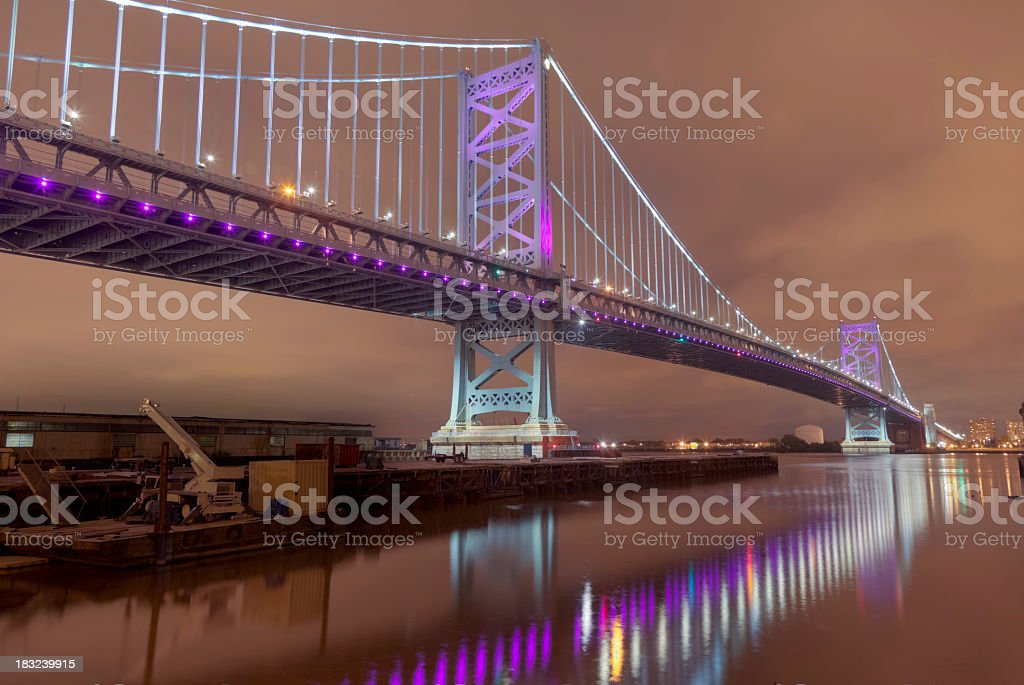 Benjamin Franklin Bridge with Reflections on Delaware River royalty-free stock photo