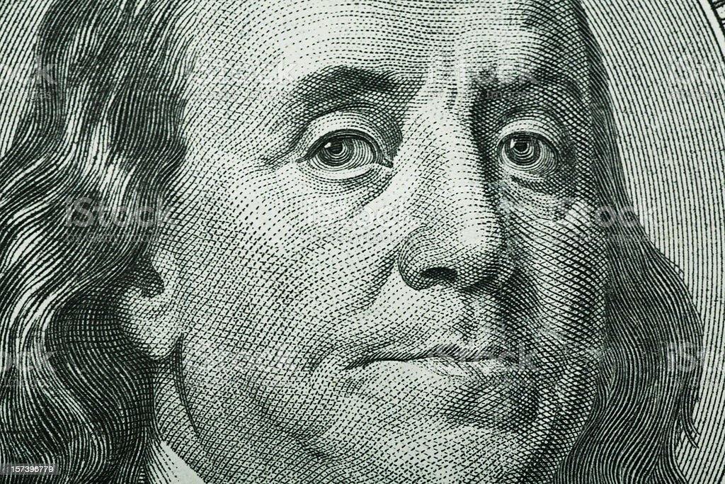 Benjamin Franklin Close-Up stock photo