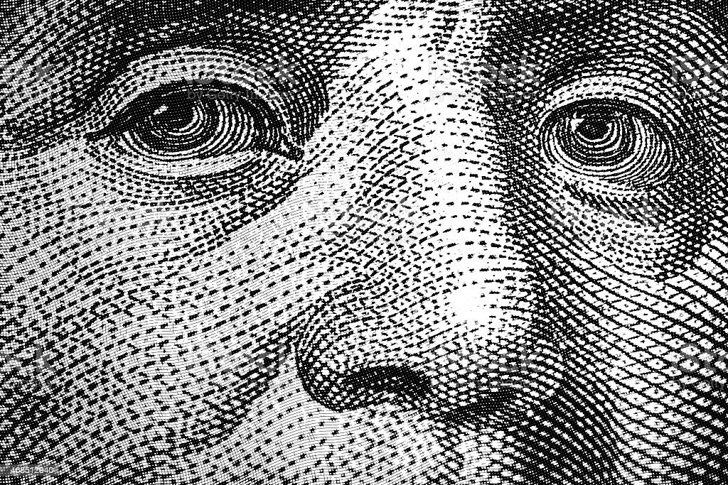 Benjamin Franklin eyes stock photo