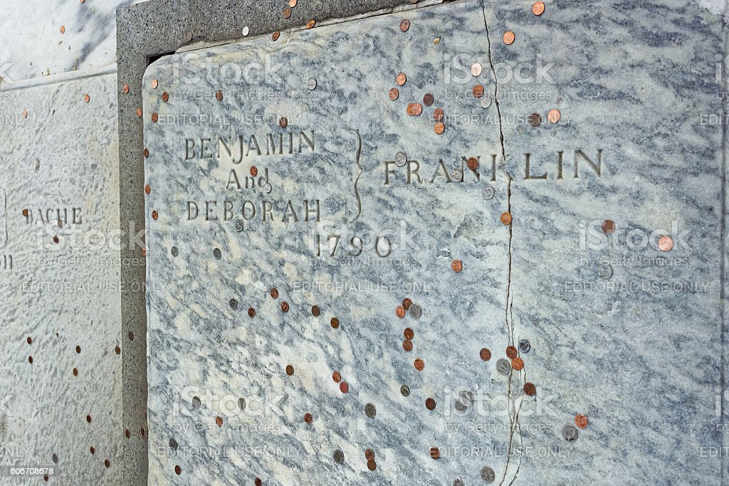 Benjamin Franklin Grave at Christ Church Burial Ground in Philadelphia stock photo