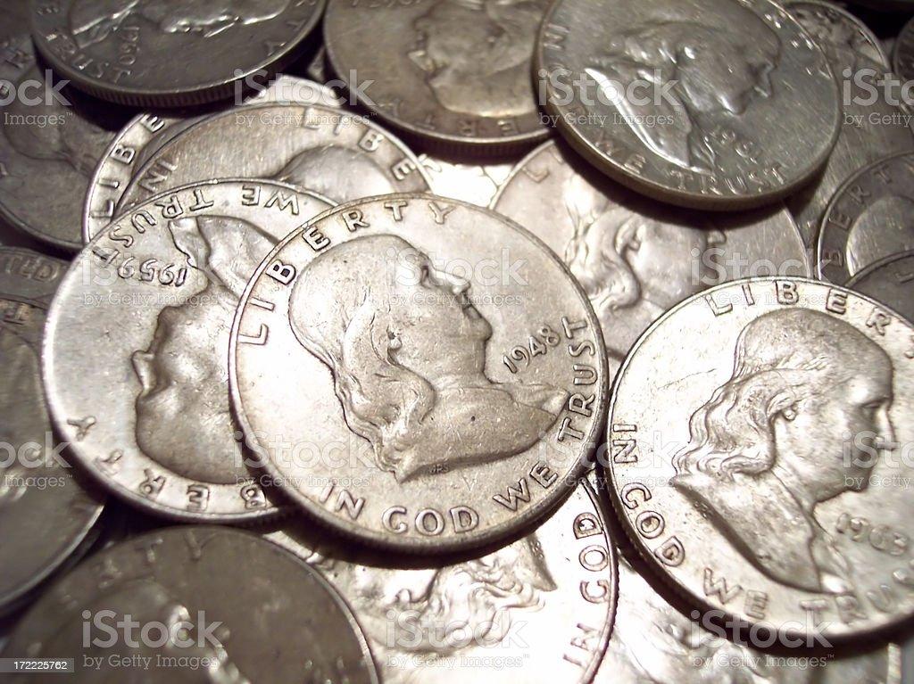 Benjamin Franklin Half Dollars stock photo